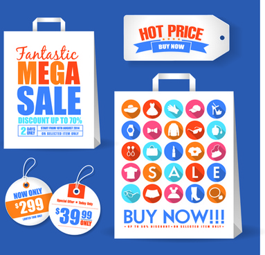 sale bag with tags vector