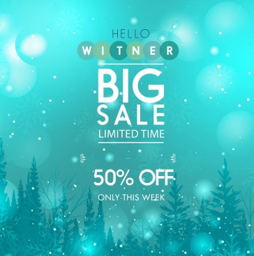 sale banner blue bokeh background falling snow decor
