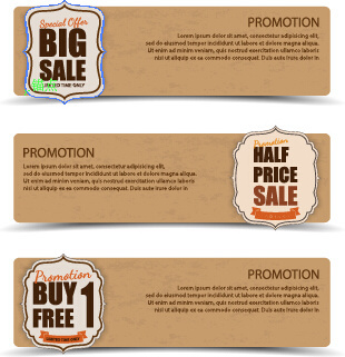 sale banner cardboard vector
