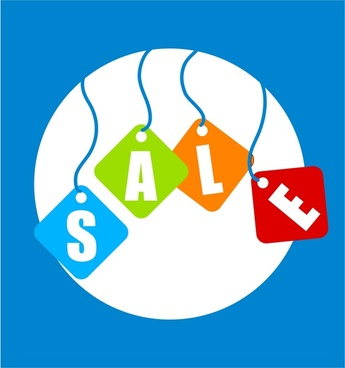 sale banner design with hanging letters illustration