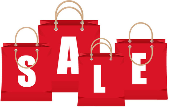 sale banner design with letter on bags