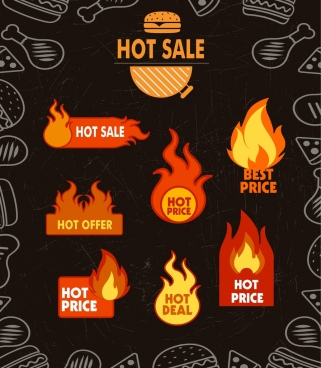 sale banner fire fast food icons ornament