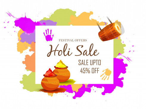 sale banner or sale poster for festival of holi celebration background vector
