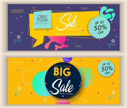 sale banner sets circles origami decor modern design