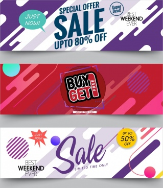 sale banner sets contemporary design splashing ornament
