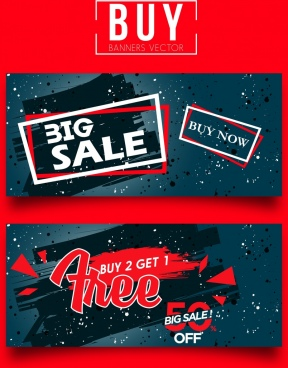 sale banner sets modern dark design grunge texts ornament