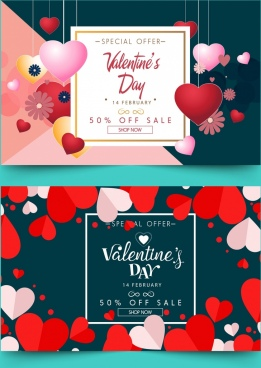 sale banner sets valentine theme hanging hearts decoration