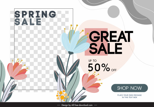 sale banner template botanical checkered decor bright classic