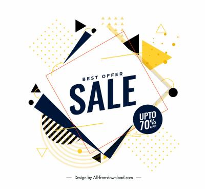 sale banner template bright modern dynamic flat geometry