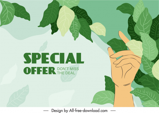sale banner template classical green leaves hand sketch