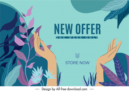 sale banner template classical leaves handdrawn hands sketch