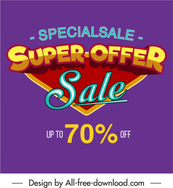 sale banner template colorful flat texts decor