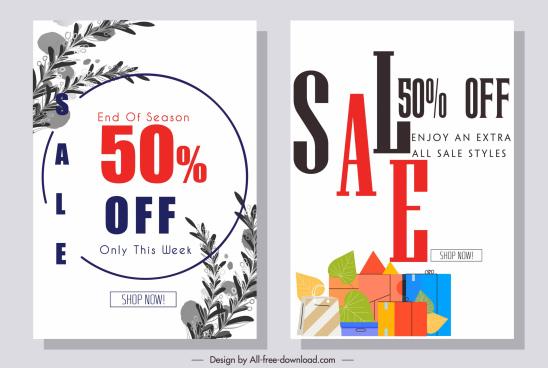 sale banner template elegant modern leaves bags decor