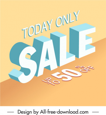sale banner template modern 3d texts decor