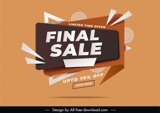 sale banner template modern dynamic abstract 3d decor
