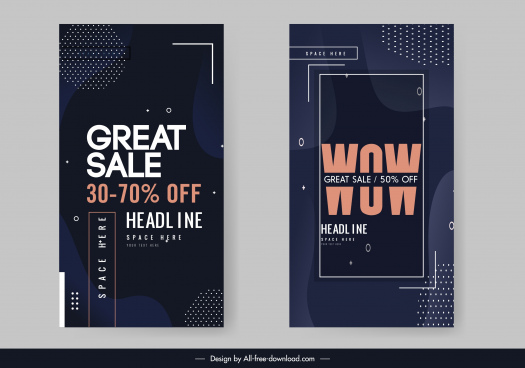 sale banner template modern elegant dark decor