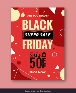 sale banner template red geometry decor