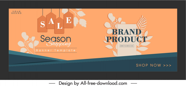sale banner template retro leaves tags decor