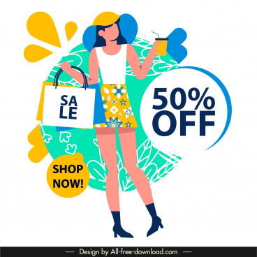 sale banner template shopping elements cartoon sketch