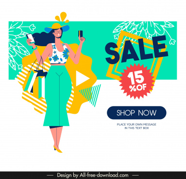 sale banner template shopping woman sketch colorful decor