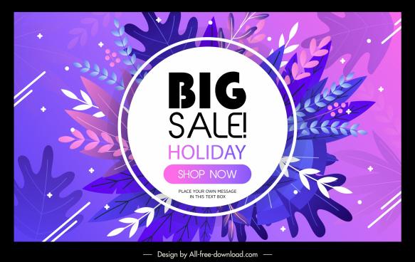 sale banner template violet design elegant leaves decor