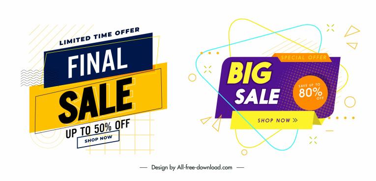 sale banner templates bright modern colorful decor