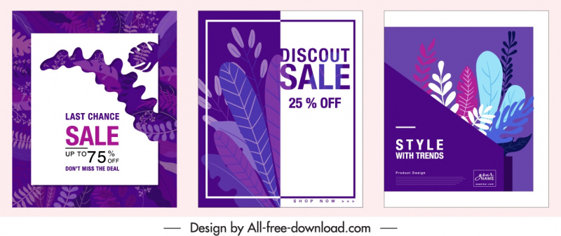 sale banner templates classic colored leaves decor