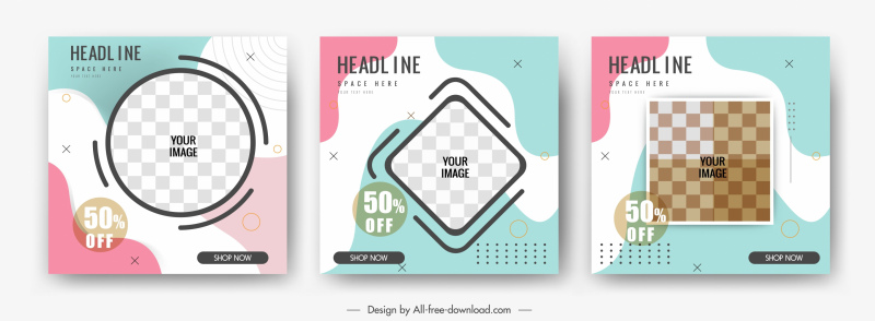 sale banner templates colorful flat checkered geometric decor