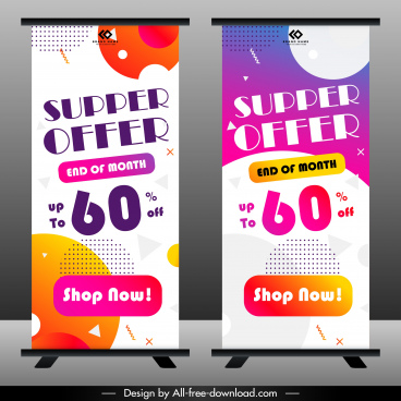 sale banner templates colorful modern decor vertical shape