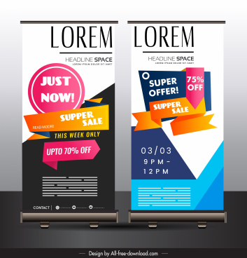 sale banner templates colorful modern vertical standee design
