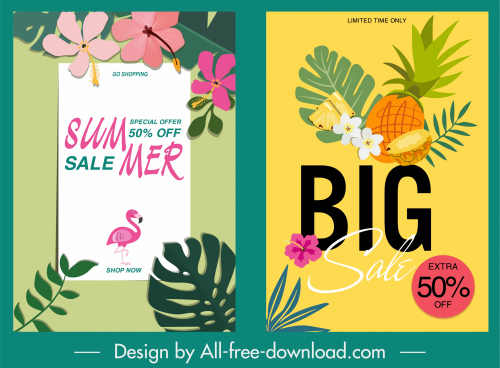 sale banner templates colorful plants decor