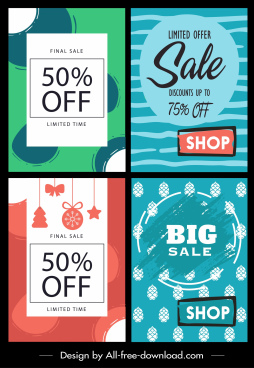 sale banner templates colorful vintage flat design