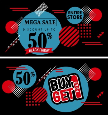 sale banner templates dark geometric decoration