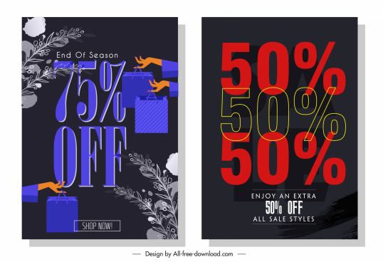 sale banner templates dark texts digits decor