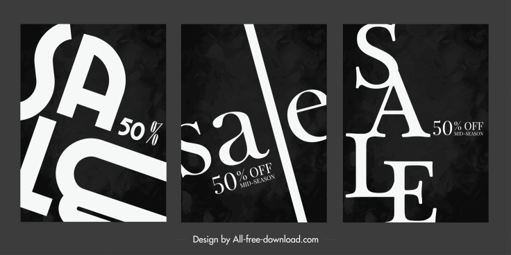sale banner templates dynamic texts decor contrast design