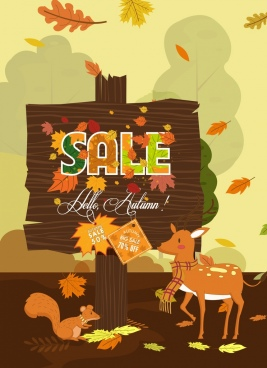 sale banner wooden signboard autumn design elements