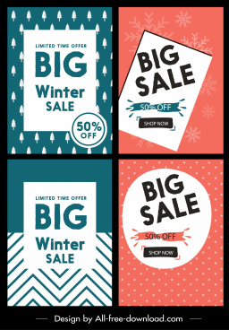 sale banners classical green red flat design