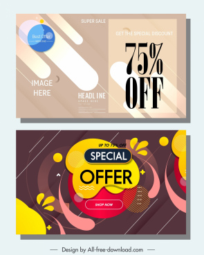 sale banners templates colored abstract dynamic decor