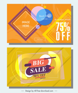sale banners templates modern colorful flat decor