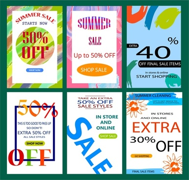 sale banners templates with bright colorful design