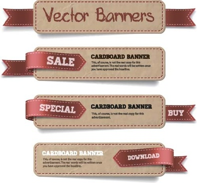 sale banners with ribbon vector