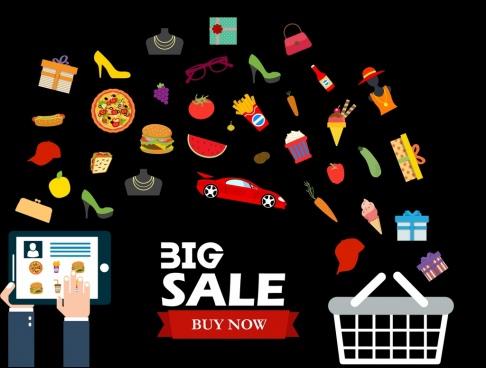 sale design elements products cart computer icons decoration