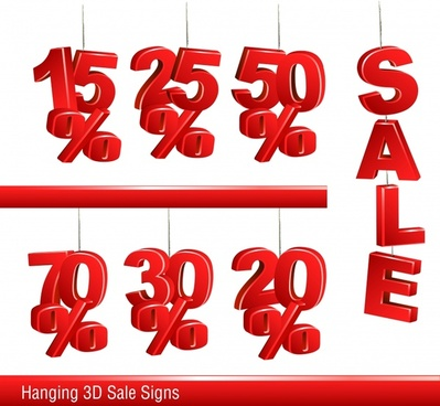 sale design elements red hanging tags 3d design