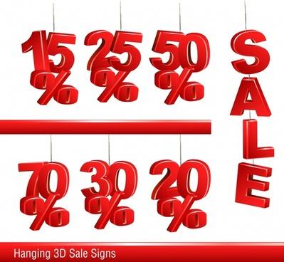 sale design elements red hanging tags 3d design