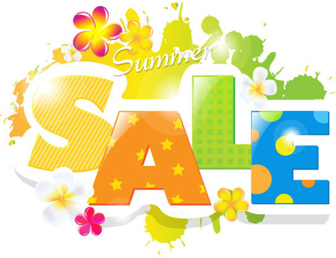 sale elements in the summer vector graphics