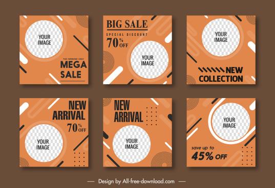 sale flyer templates flat checkered circle decor