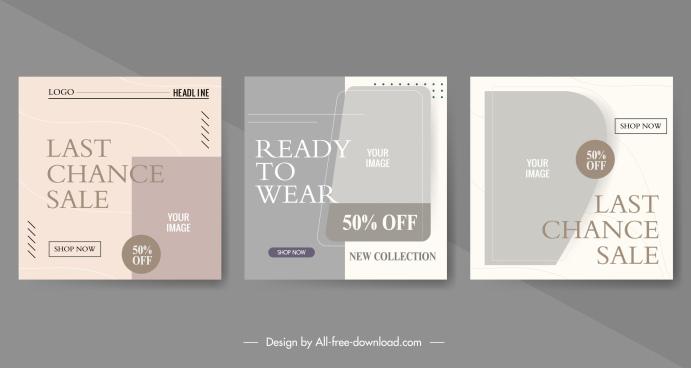 sale flyer templates flat elegant retro decor