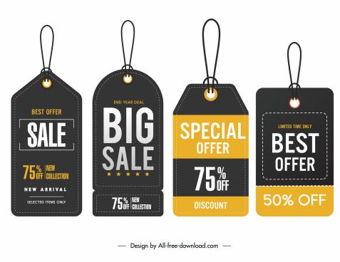 sale hang tags templates elegant modern dark decor