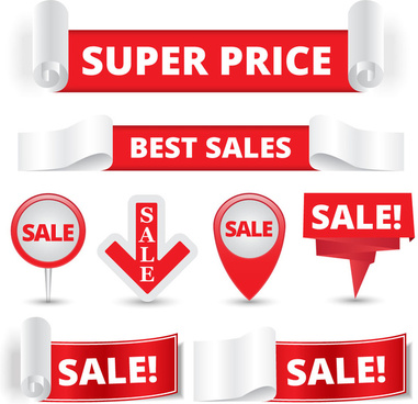 sale instruction banners on red white background