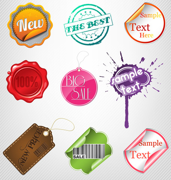 Sale label badge sticker tag set